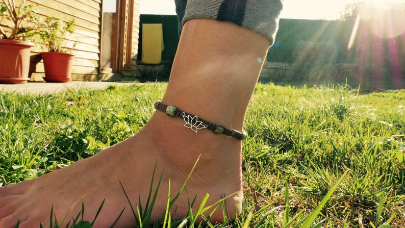 with Lotus Flower pendant macrame anklet and Turquoise beads. white metal Handmade brown waxed cotton