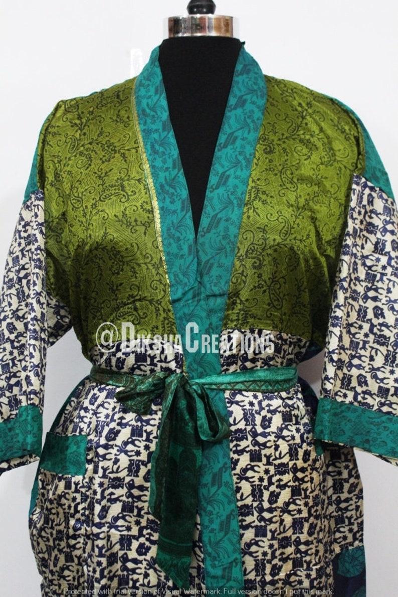 Bohemian Art Silk Sari Kimono Long Kaftan Robe Womens Night Wear Robe Vintage Soft Sari Patchwork Beach Kimono Handmade Silk Sari Gown