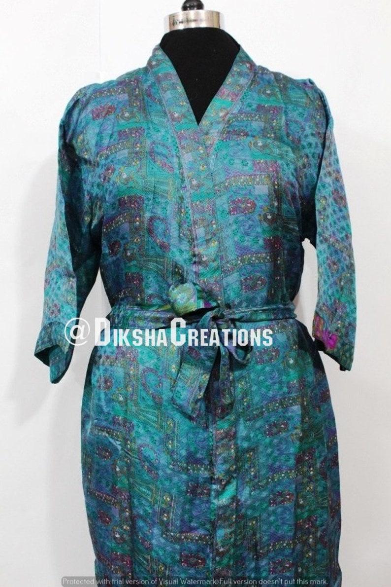 Old Pure Silk Sari Kimono Handmade Long Kaftan Robe Womens Night Wear Robe Soft Sari Beach Kimono Bohemian Silk Sari Gown