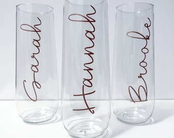 Personalized Perfect Bride Champagne flutes, custom name glasses, Stemless champagne flutes, Bridal party, Bridal Party Names, Disposable