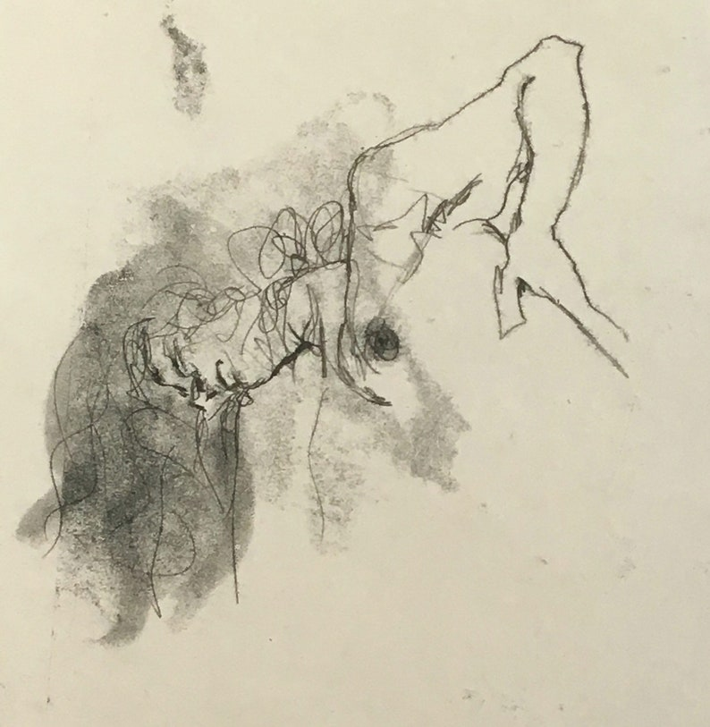 Upside-down Female Head Monotype Line Drawing