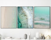 Ocean beach print set of 3 Gallery wall set of teal blue ocean print Modern poster set Starfish print