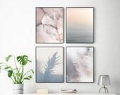 Pastel printable wall art set of 4 prints Gallery wall set Minimalist print set Neutral colors blush pink gray wall art