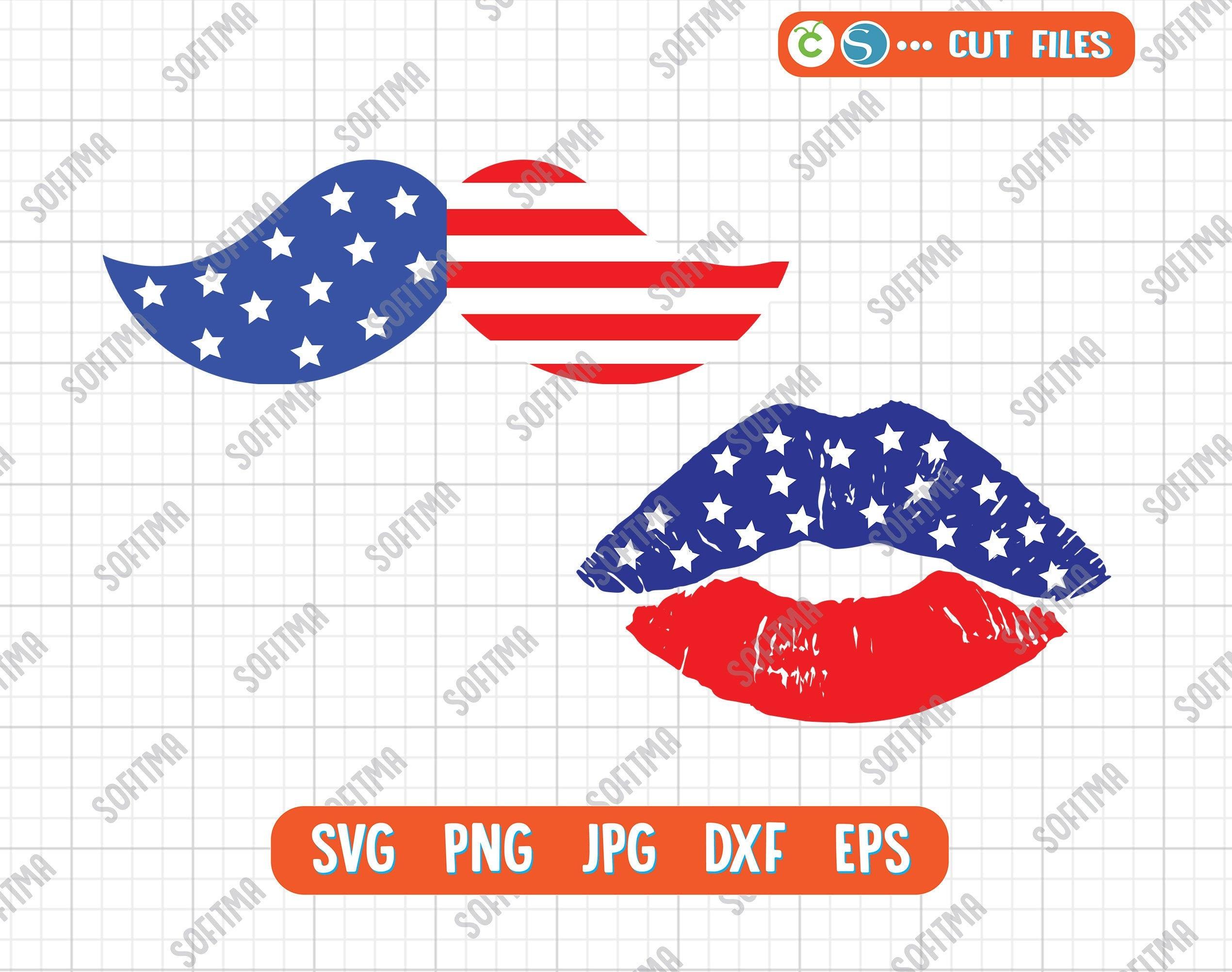 Flag Lips Svg Moustache Svg American Distessed Lips Svg Etsy