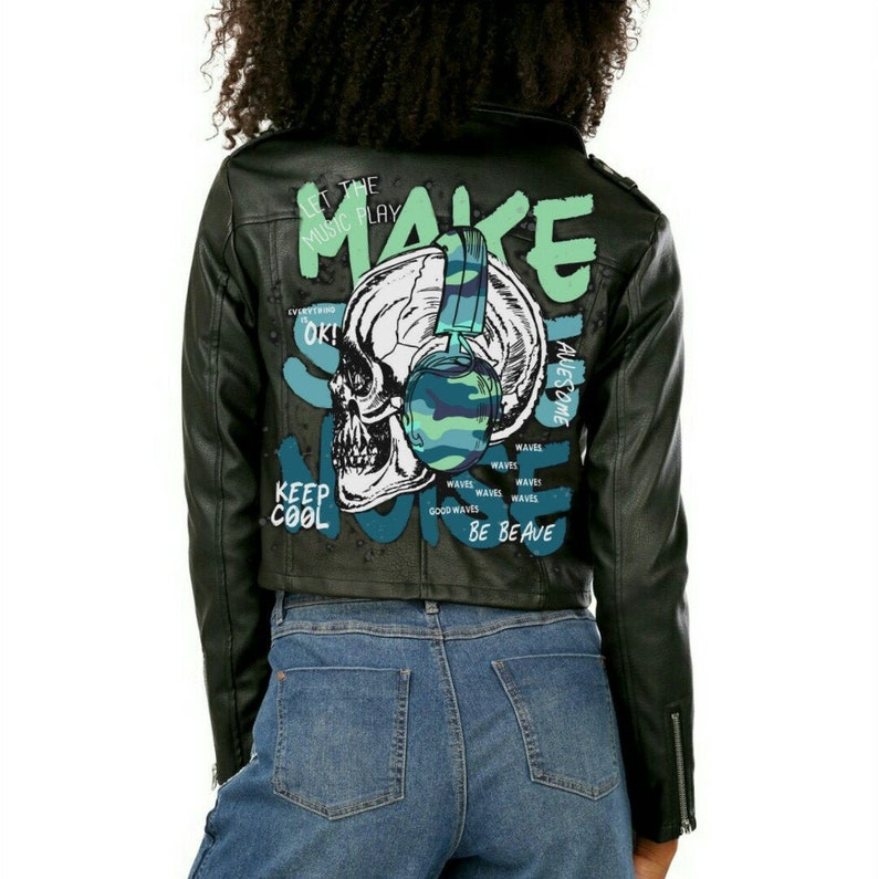 Painted faux leather jacket with Skull music