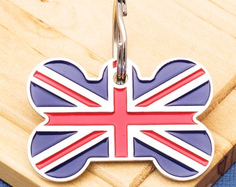 bae2e1ead919 Union Jack Flag Bone Pet ID Tag Large - Engraved