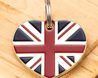 f95a5e9e1ac4 Heart British Flag Pet ID Tag