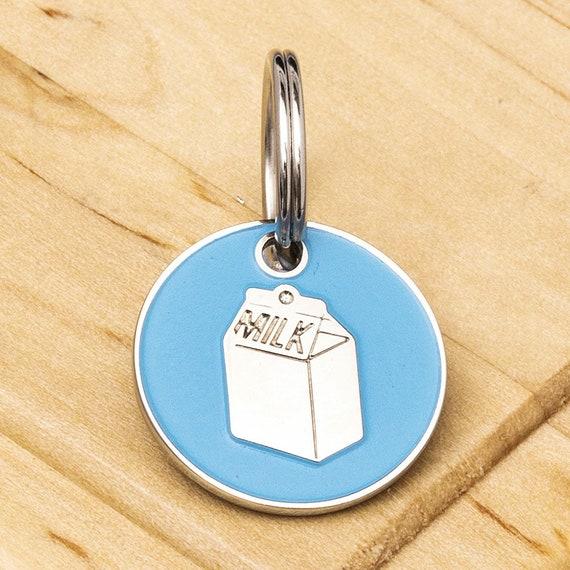 Cat Milk Carton ID Tag Blue