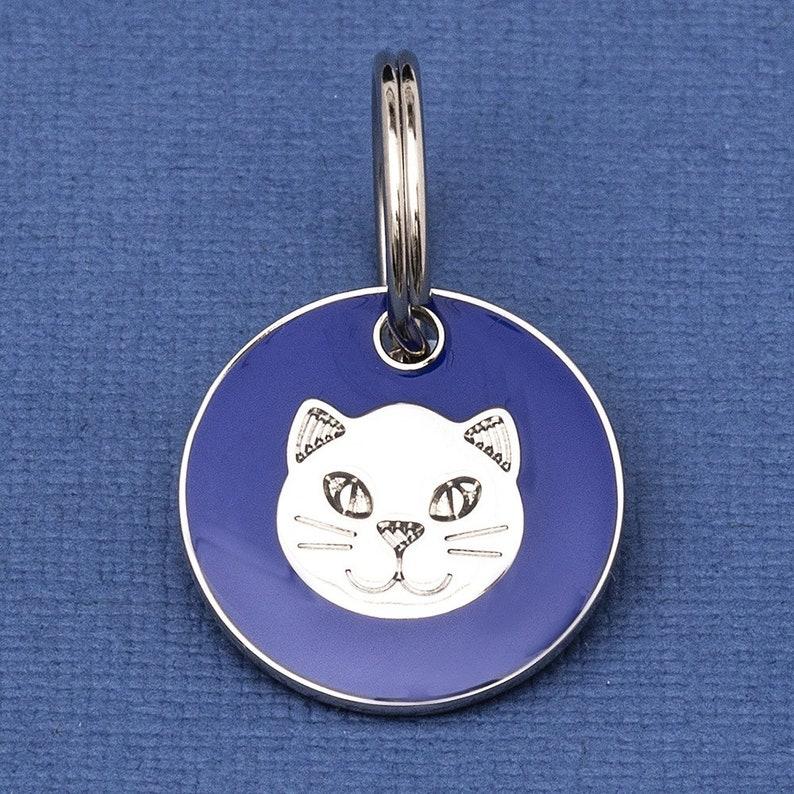 Cat Face ID Tag Blue 20mm