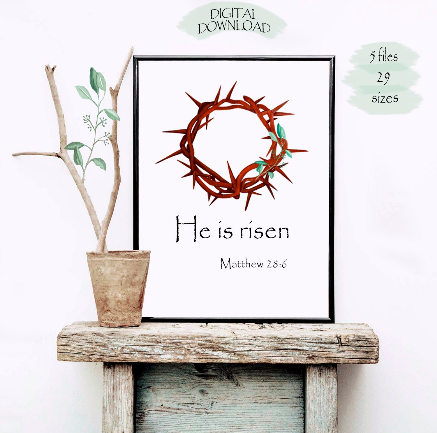 He Is Risen Easter Wall Art Easter Quote Bible Verses Print Printable Easter Home Decor Bible Wall Art Laurel Wreath Print Easter Gift