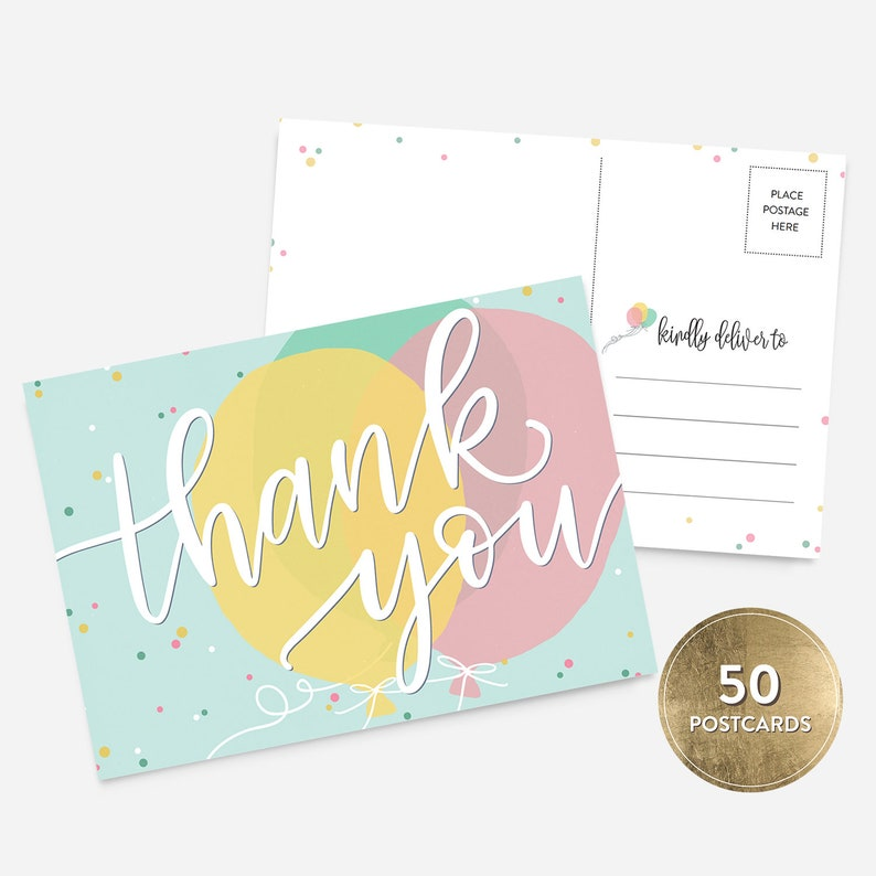 50 4x6 Kids Birthday Thank You Postcards Bulk Set Balloons