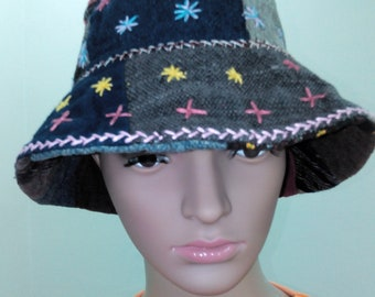 Bohemian Handmade Patchwork Bucket Hat Floral Reversible Hippie Festival Hat  Ethnic Tribal Bohemian Ikat Hippie Hipster hat Vegan Gypsy 4a4cd2b9e4ba