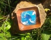 4 4 Blue Beach Trinket Tray, waves, coastal decor, jewelry dish, soap dish, functional art, surf art, ocean art, beach decor, resin painting