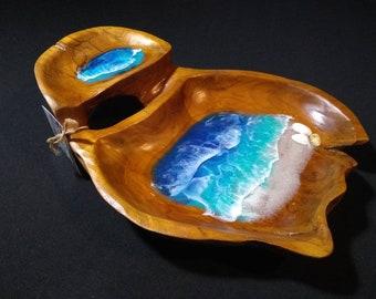 abstract coastal decor modern art Aqua Trinket Tray functional art jewelry dish