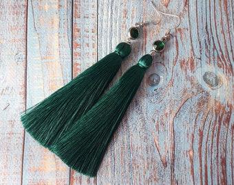 Pine green earrings, Dark Green earrings, Tassle earrings, Crystal earrings, Boho earrings, Birthday gift ideas for her