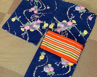 YUKATA & OBI Set Vintage Japanese  Summer Kimono Antique