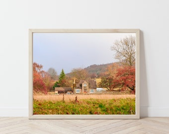 Autumn Countryside Cottage / English Countryside / England Art Print / Autumn Photography / Peak District / Fall Colors / Autumn Wall Art