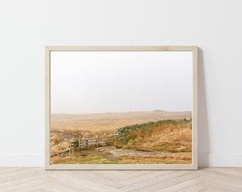 Path through Golden Fields / Autumn Landscape Photography / Foggy England Art Print / Autumn Photography / English Countryside / Fall Colors