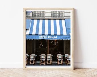 Blue Paris Cafe Art Print / French Sidewalk Cafe Photo / Paris Streets / Paris Travel Photo / Fine Art Photography / French Bistro Print