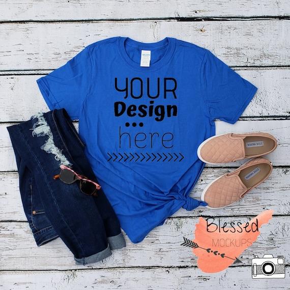 Royal Blue Tshirt Mockup Womens Tee Mockup Dark Blue Tshirt Etsy