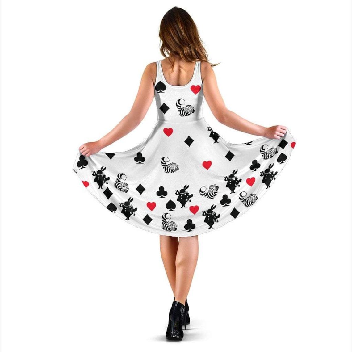 White Alice In Wonderland Midi-Dress Adult Literature Dress