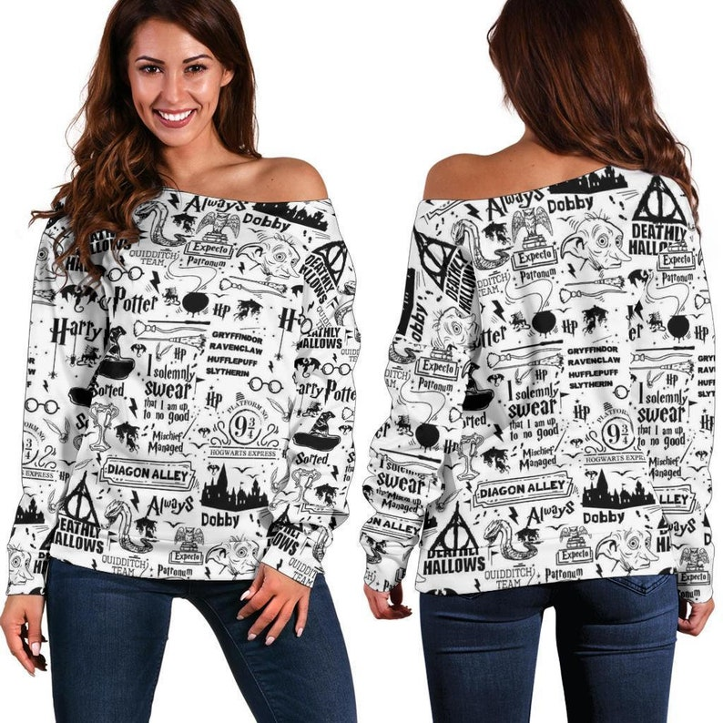 Bookish Off Shoulder Sweater For Reading Addicts