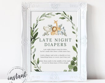 Late Night Diapers Sign, Jungle Diaper Thoughts Sign, Safari Late Night Diapers Sign, shower sign, Jungle baby shower, Instant Download, 42