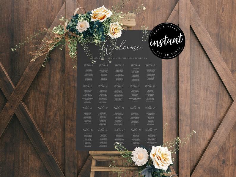 Wedding Seating Sign, Editable Seating Chart