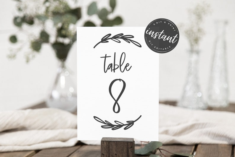 Simple Modern Table Sign editable sign AS-60 Printable sign Table Number Sign Table Sign Template Printable Table Signs