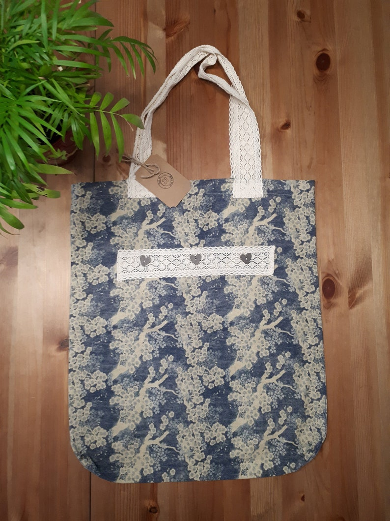 reusable bag nature handbag tote bag blue handmade bag