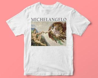 6302031a3b05 Michelangelo T-Shirt Michelangelo Print Art T-Shirt Art Gift Unisex Man  Woman T-shirt Gift Her Gift Him Creation of Adam Gift Painter