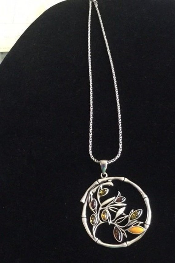 """925 Sterling Silver  Baltic Amber Tree of Life  Pendant 18/"""" Chain Necklace"""