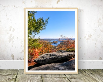Maine Prints, Photography of an Autumn View from French Mountain in the Belgrade Lakes Region, Wall Art