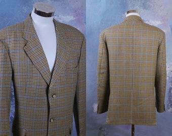 1cf887387 Hugo Boss Blazer, European Vintage Pale Gold Camel Color & Burgundy Wool  Houndstooth Jacket w Blue Windowpane Check Pattern: XL (44L US/UK)