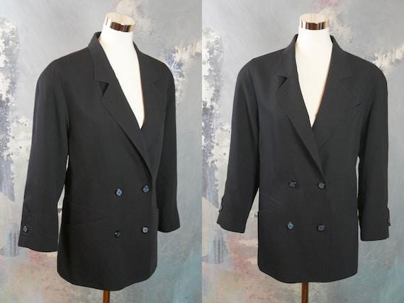 Navy Blue Double Breasted Blazer, 1990s European V