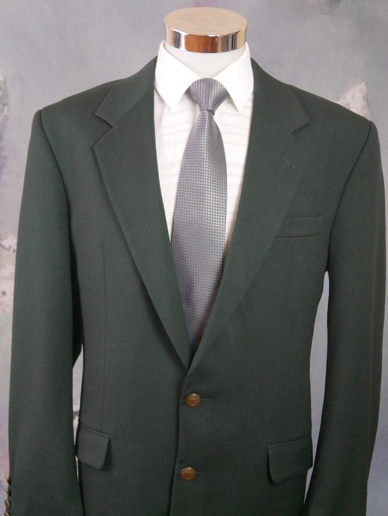 40R British Single-Breasted Wool Jacket Dark Green Blazer Size 40 USUK