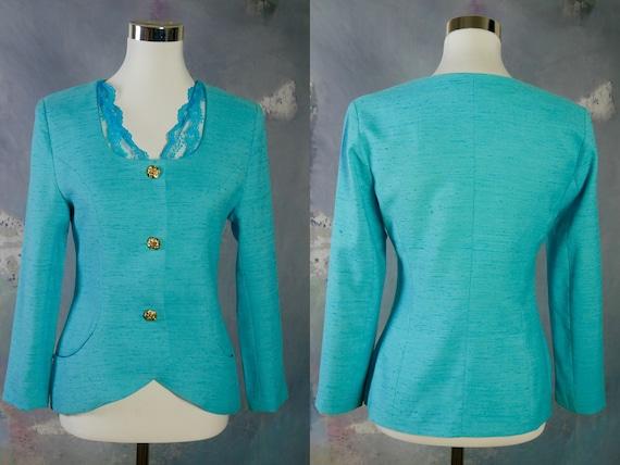 Women's Vintage Blazer, 1990s Turquoise Linen Crop