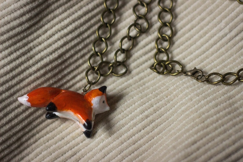 Fox Polymer Clay Pendant with golden leaf detail