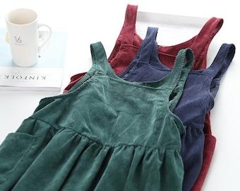 Handmade corduroy midi overalls smock dress with deep side pockets apron pinafore style