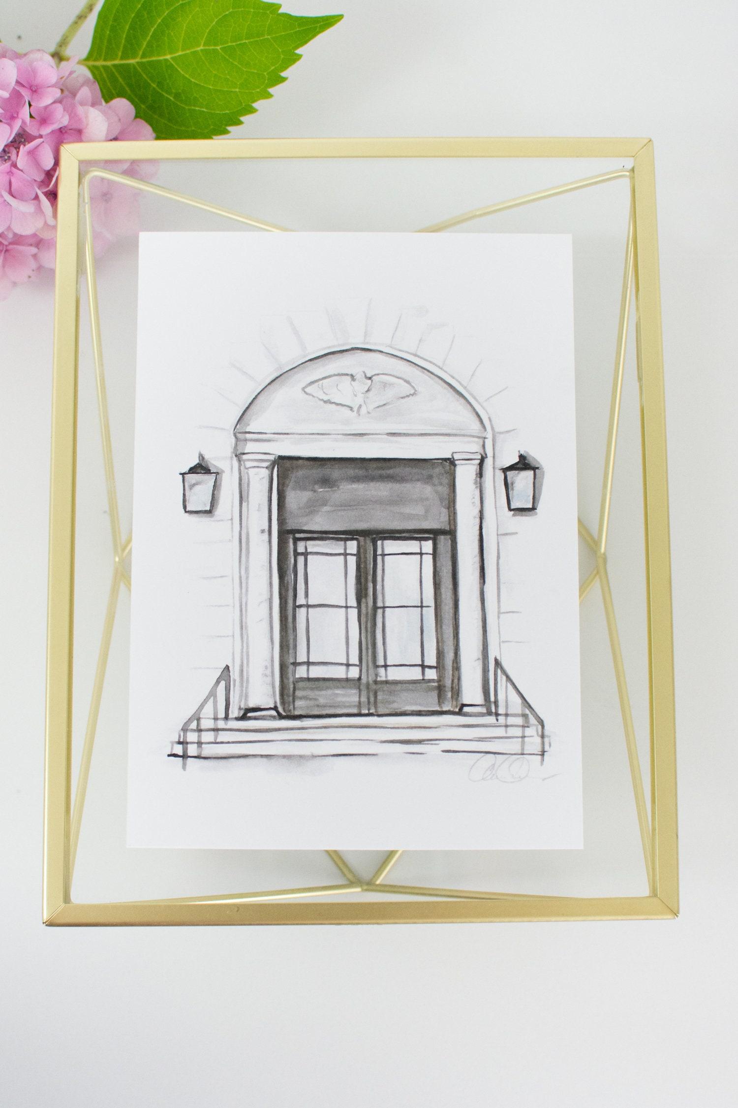 Pack of 6 Individual Historic Doors of Huntsville 5x7 Watercolor Prints