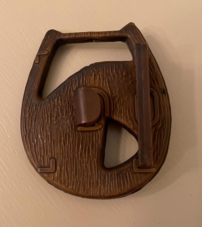 VINTAGE Horse Belt Buckle Wood-look 1950/'s Cowboy Living!