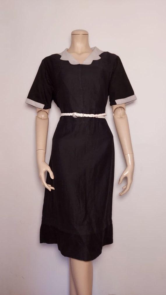 30s Dress   Vintage 30s Black Crepe Dress with Hip Fringe Size XS S 25 waist metal side zipper