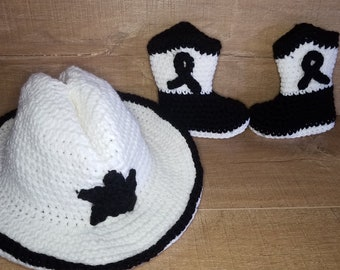 787a5145b43bf Cowboy cowgirl Crochet Hat and boot set