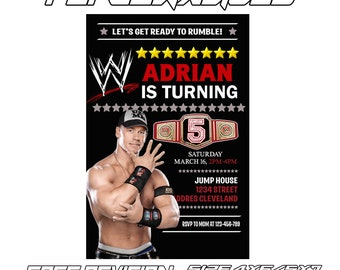 Birthday Invitation Wwe Etsy