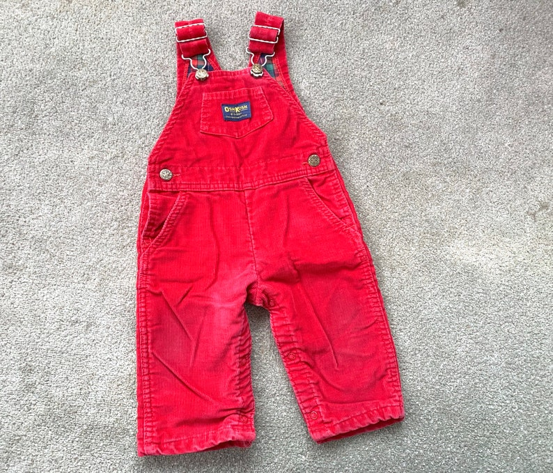 Vintage 1980s Oshkosh flannel lined corduroy overalls toddler size 18 months  union made in USA  holiday outfit