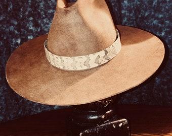 Brown Beaver Felt Cowboy hat w Snakeskin hat band SIZE - M-L d8661732cbd2