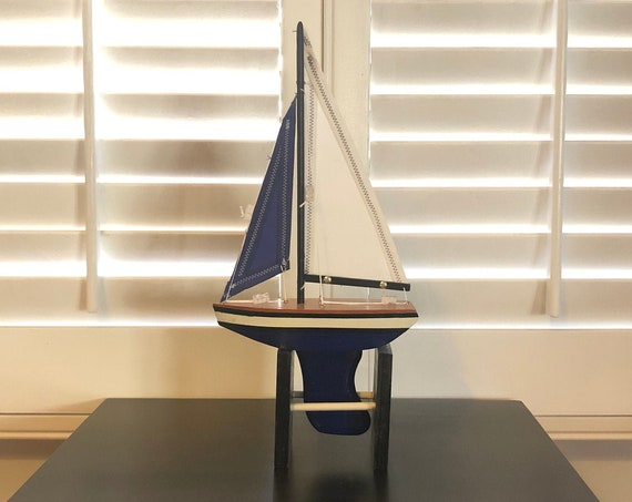 7 Inch Model Boat: Redwood Hull, Complementary Stand, 2 Sails, Natural Wood, Blue or White, Black Pin Striping