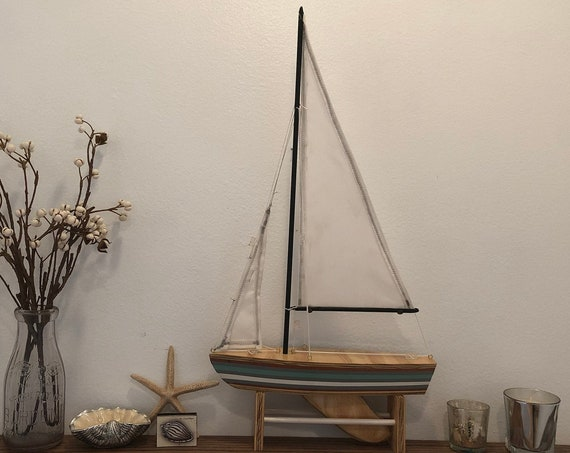 12 Inch Model Boat: Redwood Hull, Complementary Stand, 2 Sails, Natural Wood, Light Green, White, Grey Pin Striping