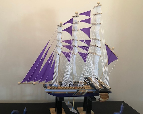 28 Inch Model Ship: Redwood Multi-level Hull, Complementary Stand, 34 Sails, Purple, Periwinkle, Black, Grey Pin Striping