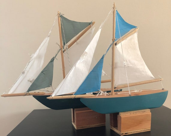 11 Inch Model Boat: Pointed Bow, Complementary Stand, 4 Sails, Choose Your Color (Black, Light Blue, Green, Purple, & Red)